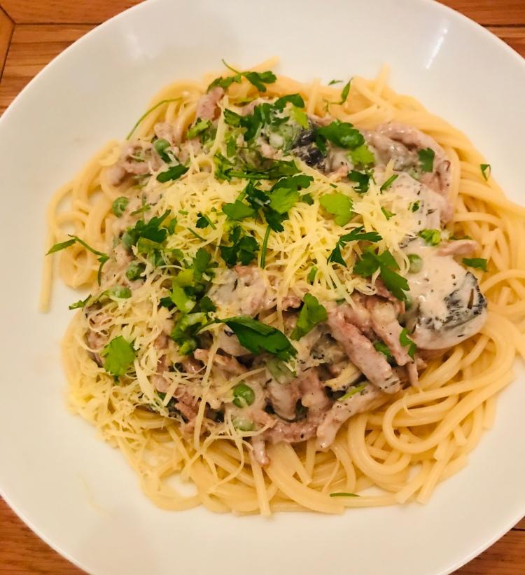 Vegan Spaghetti Carbonara (Dairy Free, no egg)