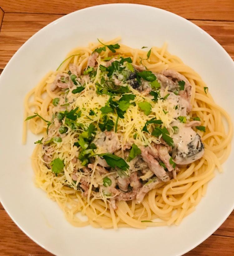 Vegan Spaghetti Cabonara (Dairy-Free, Plant-based, no eggs)